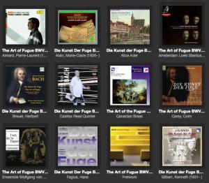iTunesのフーガの技法のコレクション